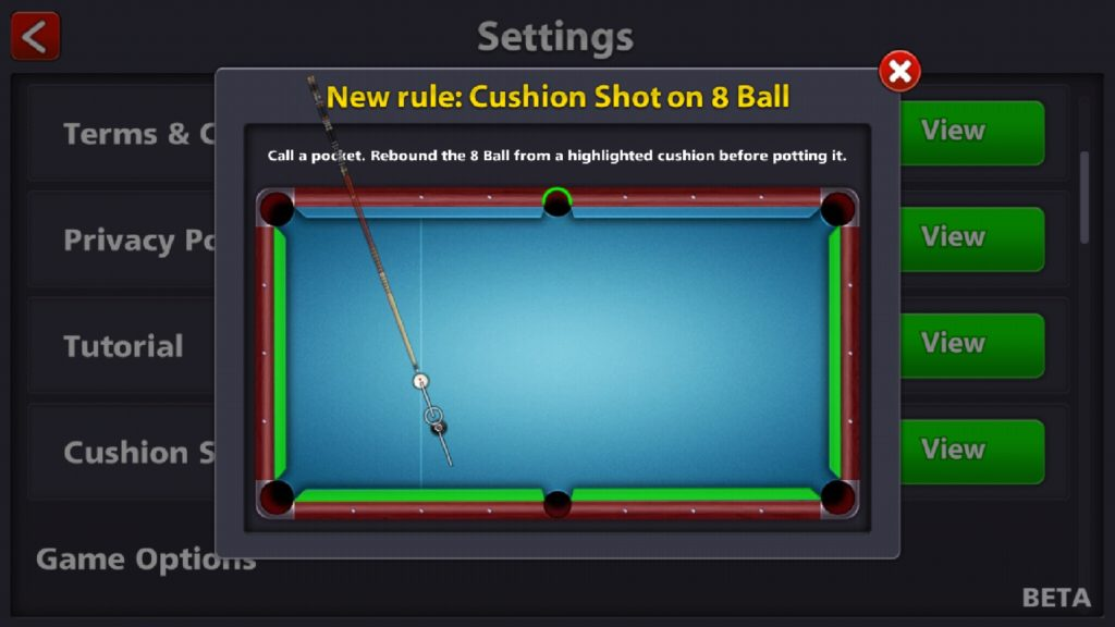 8 ball Pool Cushion Shot