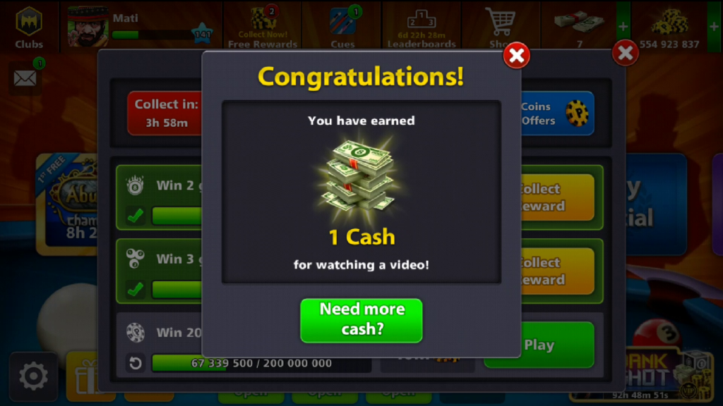 8 ball pool daily free cash