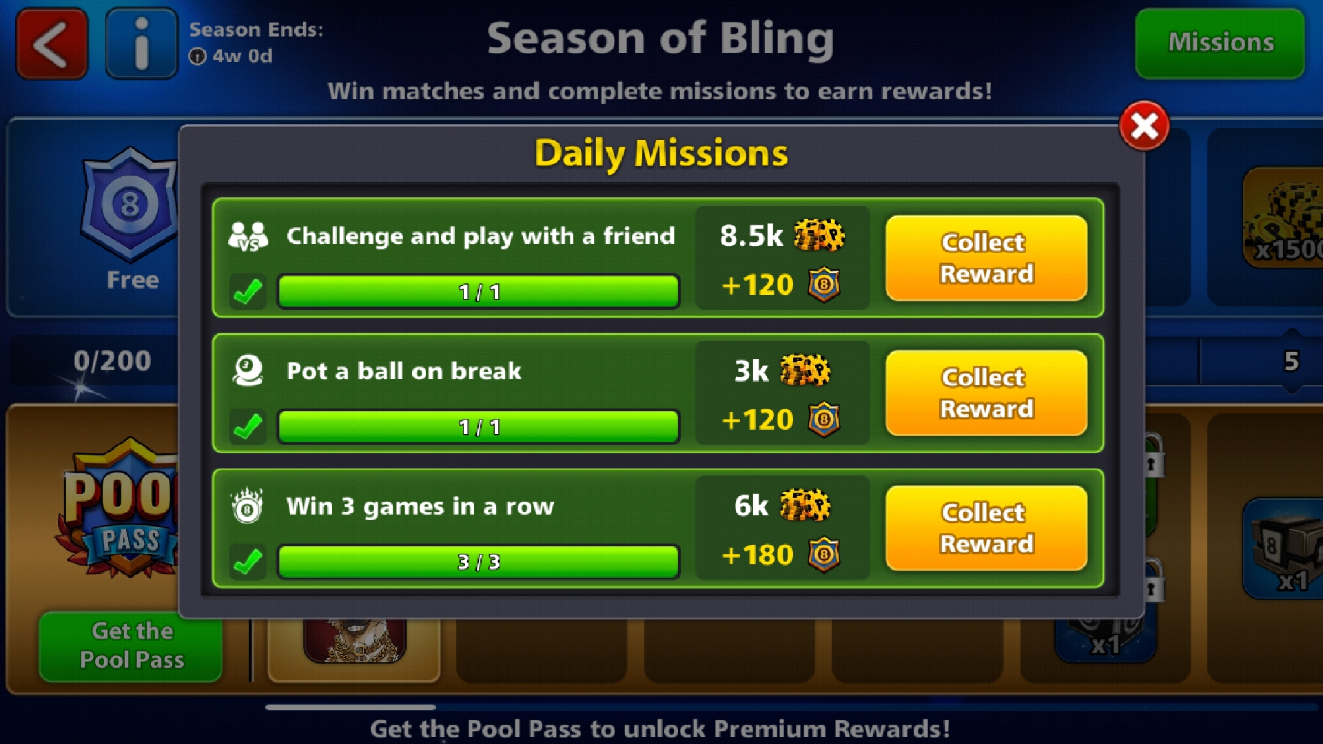 8 ball pool daily mission
