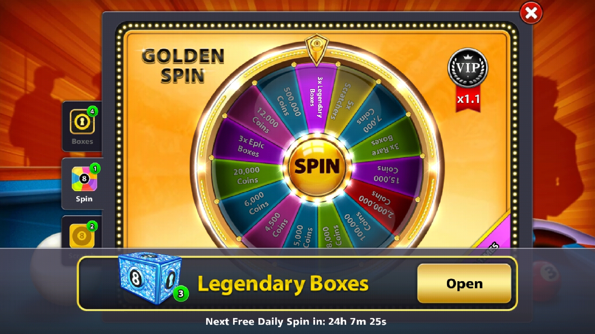 8 ball pool free legendary box