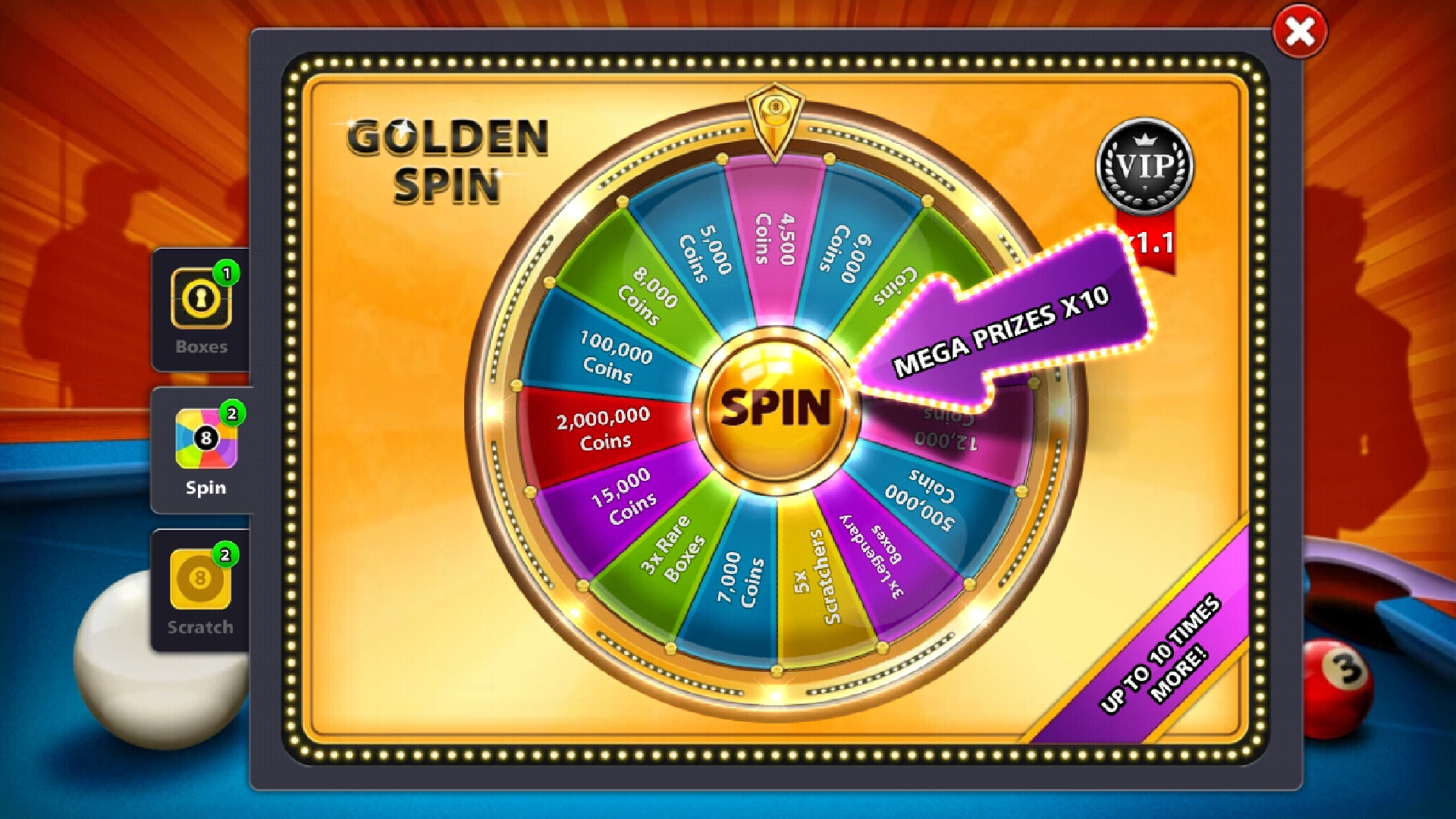 8 ball pool golden spin reward