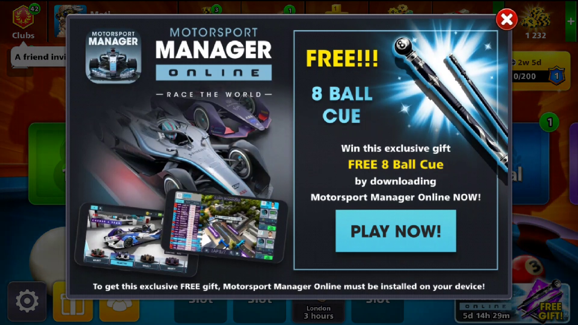 free 8 ball cue offer