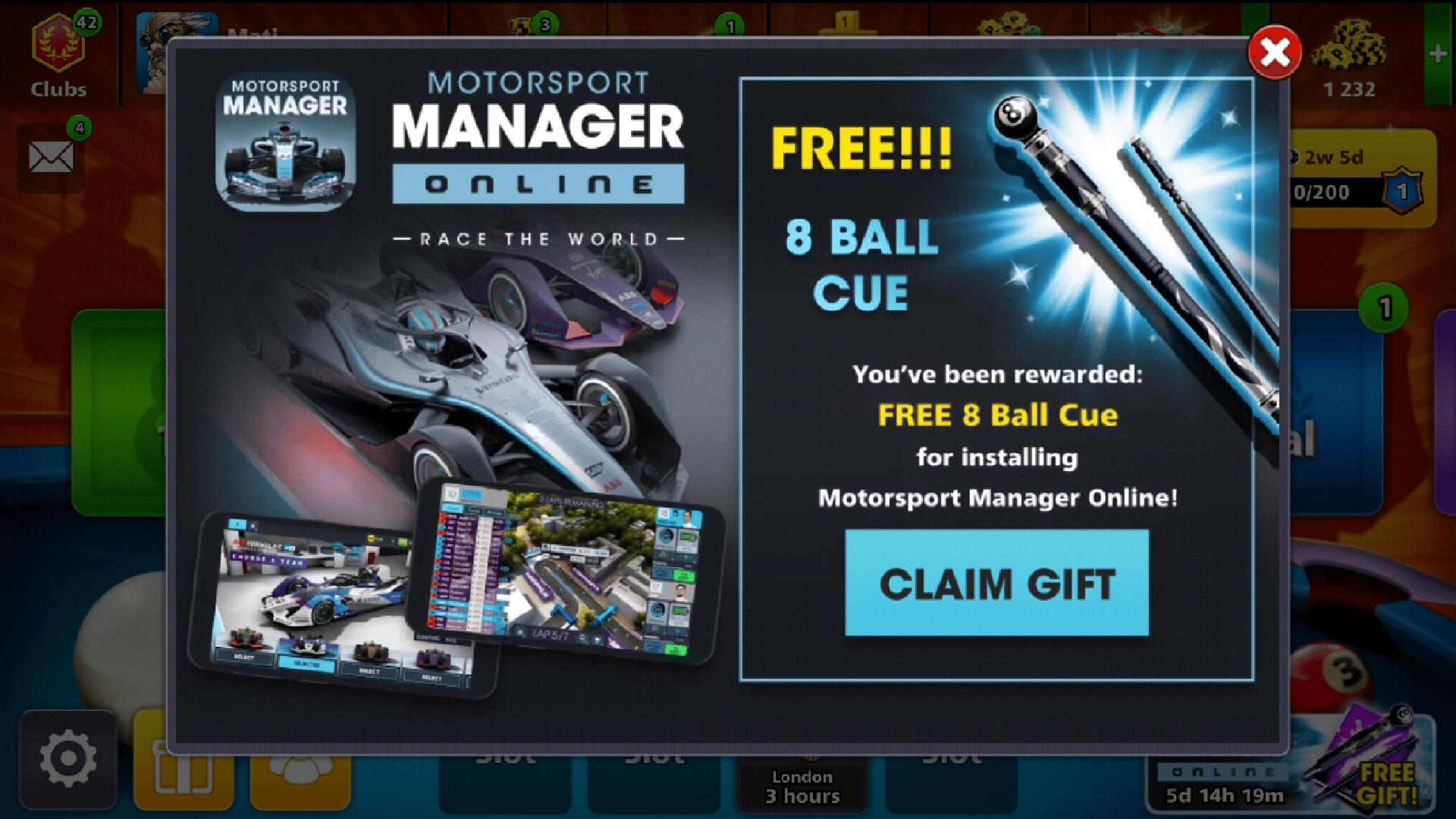 claim free 8 ball cue