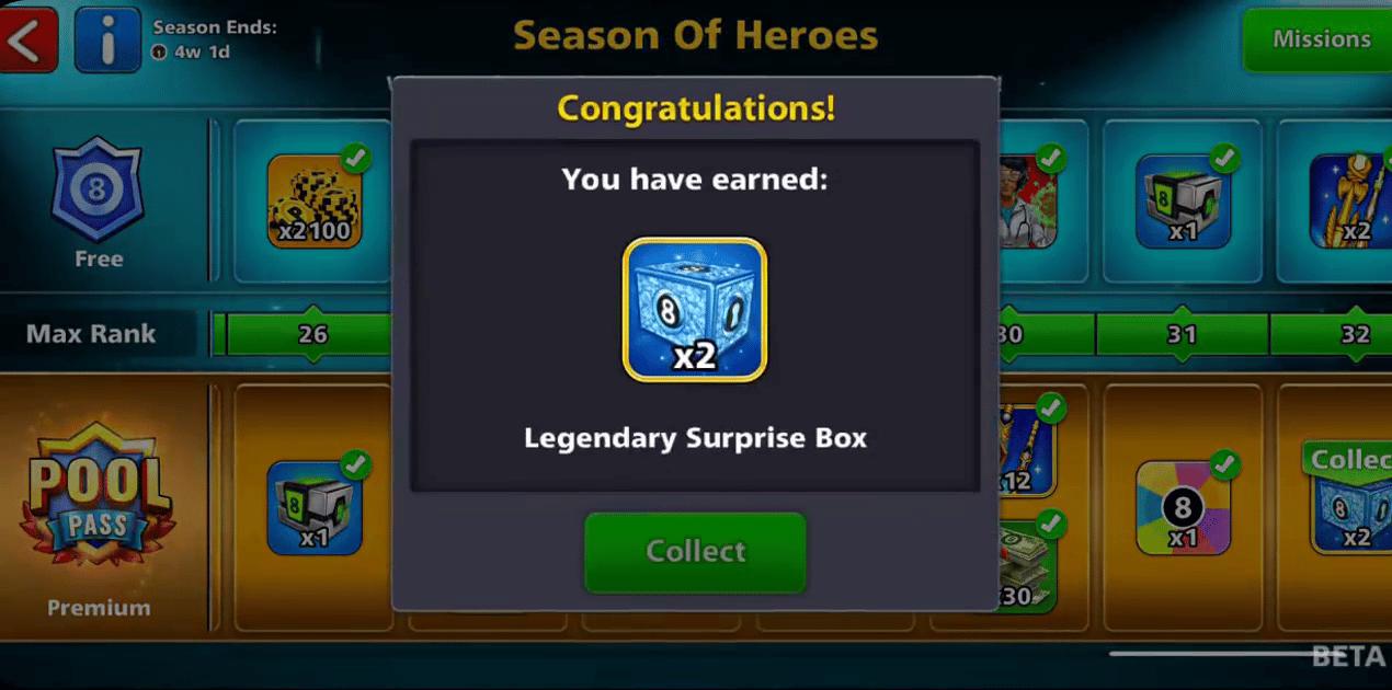8 ball pool free legendary box